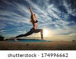 woman practicing warrior yoga... | Shutterstock . vector #174996662