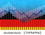 3D rendering of flag of Germany on bar chart concept of economic recovery and business improving after crisis such as Covid-19 or other catastrophe as economy and businesses reopen again.