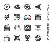 cinema and movie icons white.... | Shutterstock .eps vector #174997472