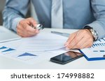 close up of a businessman with... | Shutterstock . vector #174998882