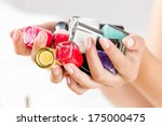 close up of woman hands with... | Shutterstock . vector #175000475