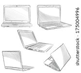 laptop set. computer hand drawn ... | Shutterstock .eps vector #175004996