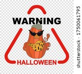 halloween warning sign with... | Shutterstock .eps vector #1750061795