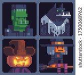 halloween party monsters  evil... | Shutterstock .eps vector #1750068962