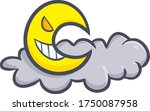 funny and scary evil moon with... | Shutterstock .eps vector #1750087958