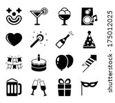 party icons set  contrast flat... | Shutterstock . vector #175012025