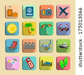 global tourism icons set of...