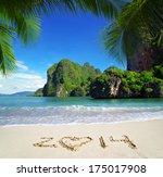 sea beach blue sky sand sun... | Shutterstock . vector #175017908