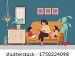 mom reading for little son and... | Shutterstock .eps vector #1750224098