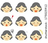 facial expressions of senior... | Shutterstock .eps vector #175025912