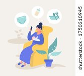 single mom layback at home and... | Shutterstock .eps vector #1750310945
