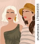 two young girls in modern...   Shutterstock .eps vector #1750343555