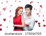 young smiling man and woman in...   Shutterstock . vector #175034705