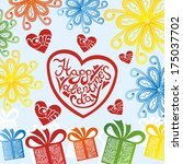 valentines day card romantic... | Shutterstock . vector #175037702