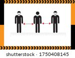 social distancing sign and... | Shutterstock .eps vector #1750408145
