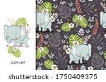 cute elephant baby with floral... | Shutterstock .eps vector #1750409375