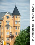 HELSINKI, FINLAND - JUNE 25, 2018: A building with a Art Nouveau tower similar to a castle. It was built in 1906.