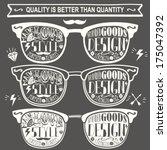 vector set of vintage glasses.  | Shutterstock .eps vector #175047392