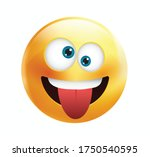 High quality emoticon vector on yellow gradient background. Happy emoji with eyes.Yellow face with crazy eyes.Tongue emoji.Popular chat elements.Silly emoticon.