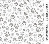Doodle Grey Paw Print Seamless...