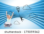 joyful woman with a notebook... | Shutterstock . vector #175059362