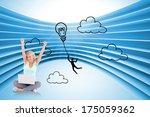 joyful woman with a notebook... | Shutterstock . vector #175059362