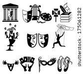 set of icons on a theme art. a...