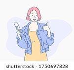 cheerful girl hold the... | Shutterstock .eps vector #1750697828