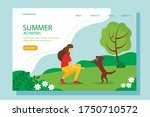 woman playing with the dog in... | Shutterstock .eps vector #1750710572