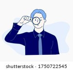 businessman with magnifying... | Shutterstock .eps vector #1750722545