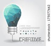 polygon idea light bulb with...   Shutterstock .eps vector #175077662