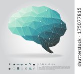 brain polygon with business... | Shutterstock .eps vector #175077815