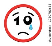 Sad Face Icon With Number 10...