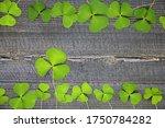 clover leaf on wood background. ... | Shutterstock . vector #1750784282