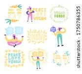 set of vector vegan signs.... | Shutterstock .eps vector #1750786355