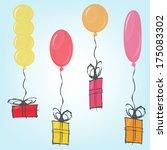 vector gift with balloon | Shutterstock .eps vector #175083302
