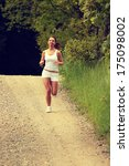 pretty young girl runner in the ... | Shutterstock . vector #175098002