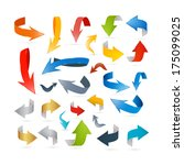 colorful abstract arrows set  ... | Shutterstock . vector #175099025