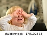 portrait of crying baby girl.  | Shutterstock . vector #175102535