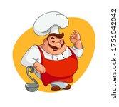 chef illustration. smiling man... | Shutterstock .eps vector #1751042042