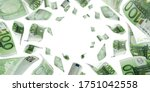Counting euro banknote falling isolated. Money cash texture on white background. - stock photo