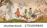 ancient china. oriental people. ... | Shutterstock .eps vector #1751049845