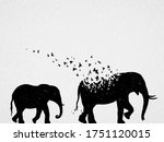 elephant mom and child... | Shutterstock .eps vector #1751120015