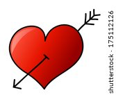 hand drawn heart with arrow | Shutterstock .eps vector #175112126