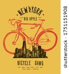 new york bicycle gang....   Shutterstock .eps vector #1751151908