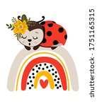 poster with ladybug and rainbow ... | Shutterstock .eps vector #1751165315