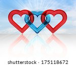 Three Connected Hearts Shape I...