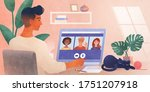 work from home. a business... | Shutterstock .eps vector #1751207918