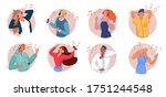 music listening. smiling men... | Shutterstock .eps vector #1751244548