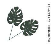 tropical leaves  jungle leaves  ... | Shutterstock .eps vector #1751279495